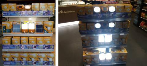 Lampes dans un magasin au Congo